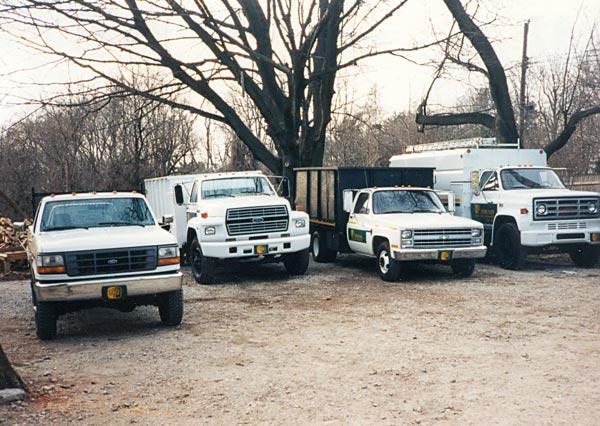 Shreiner Tree Care's fleet of trucks in 1992