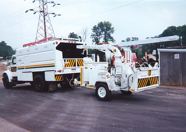 Shreiner Tree Care's truck chipper in 2001