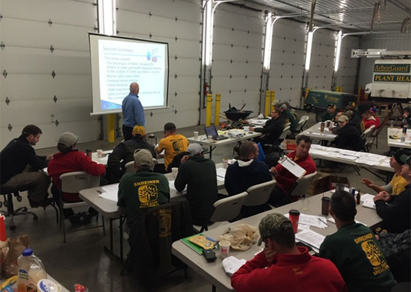 Shreiner Tree Care performing safety training with the team